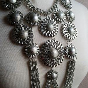 ChicJewelz Jewelry - Long Silver Statement Necklace